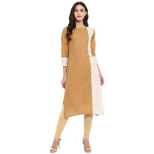 Ahalyaa - Beige,White Colored Casual Foil Printed Cotton Kurti