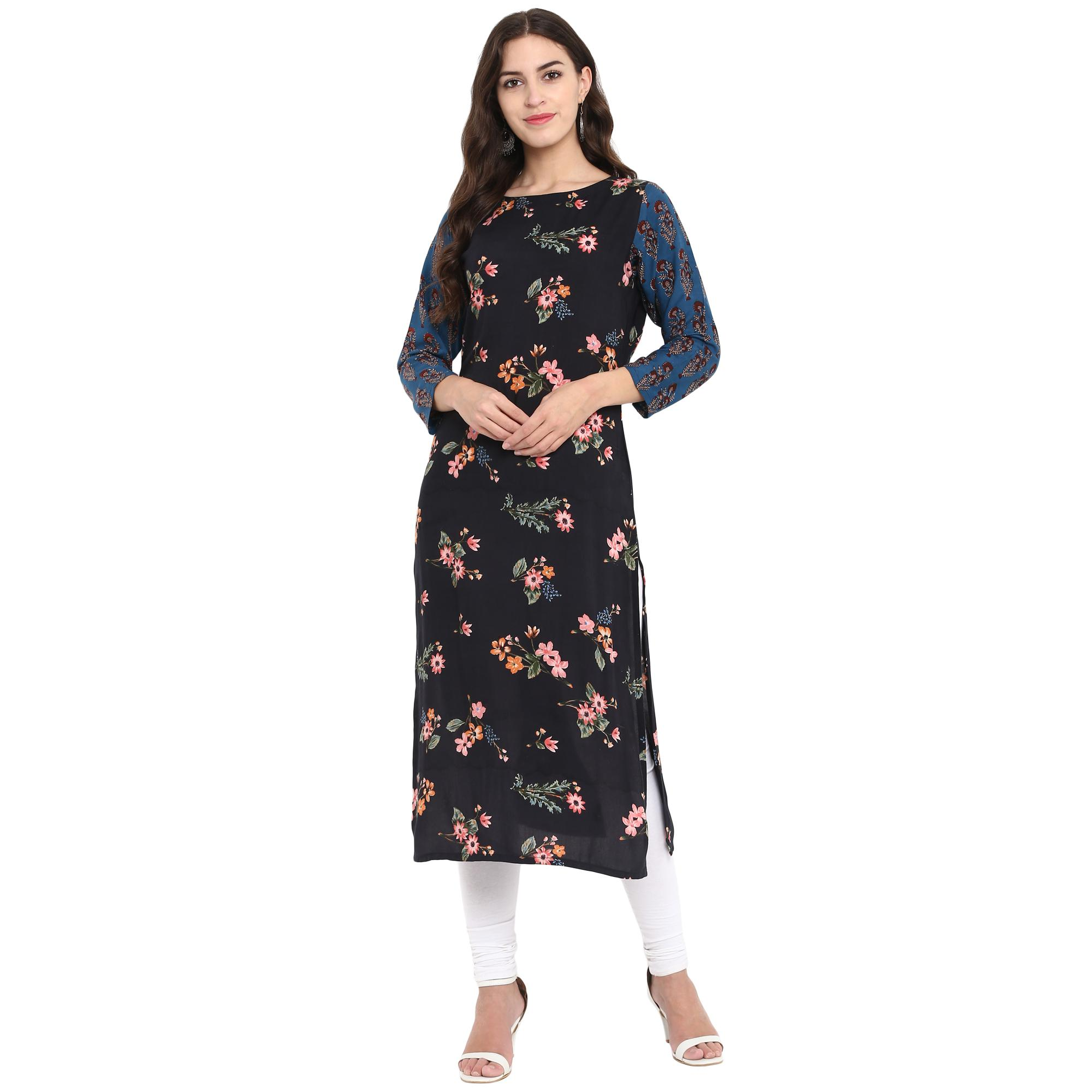 Ahalyaa - Black Colored Casual Digital Printed Rayon Kurti