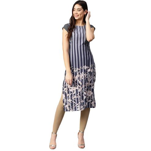 Ahalyaa - Blue Colored Casual Digital Printed Crepe Kurti