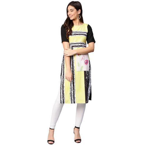 Ahalyaa - Yellow Colored Casual Digital Printed Crepe Kurti