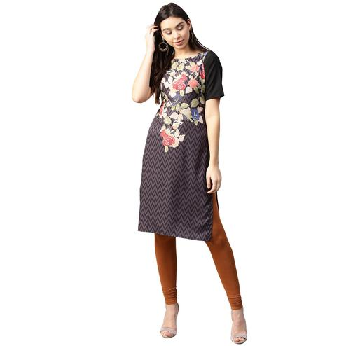 Ahalyaa - Black Colored Casual Digital Printed Crepe Kurti