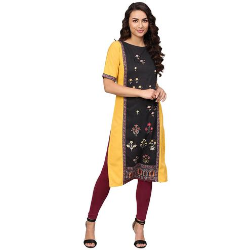 Ahalyaa - Mustard Yellow Colored Casual Digital Printed Crepe Kurti