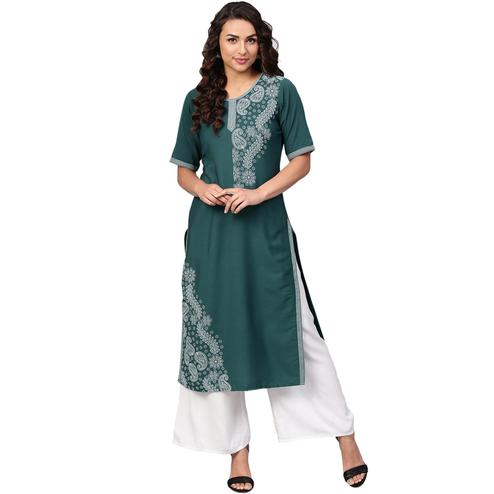 Ahalyaa - Teal Green Colored Casual Pigment Crepe Kurti