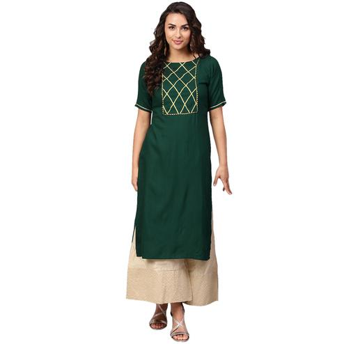 Ahalyaa - Dark Green Colored Casual Solid Rayon Kurti