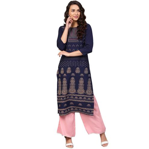 Ahalyaa - Navy Blue Colored Casual Pigment Crepe Kurti