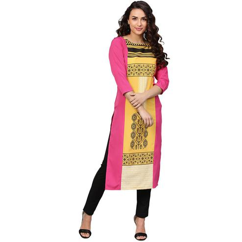 Ahalyaa - Pink-Yellow Colored Casual Pigment Crepe Kurti