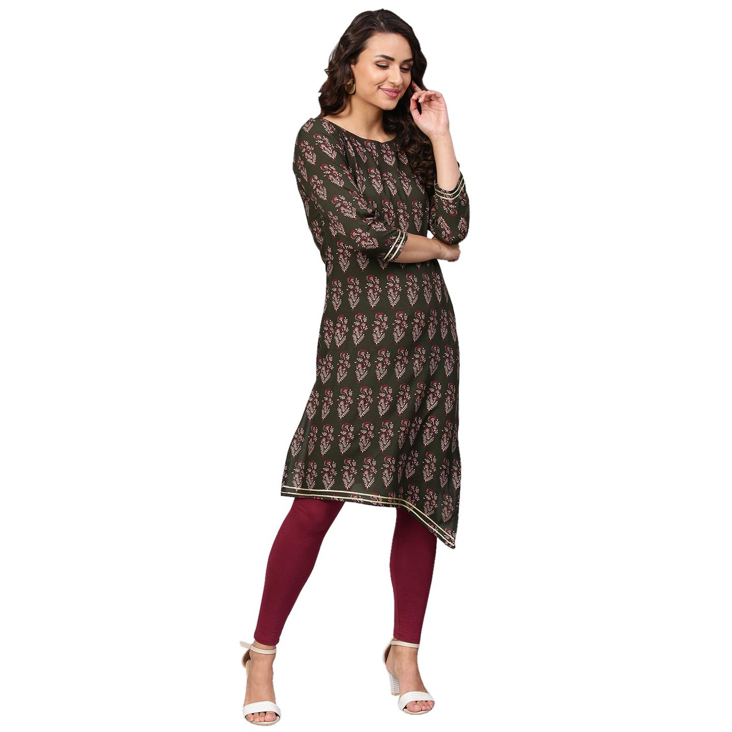 Ahalyaa - Grey Colored Casual Printed Rayon Kurti