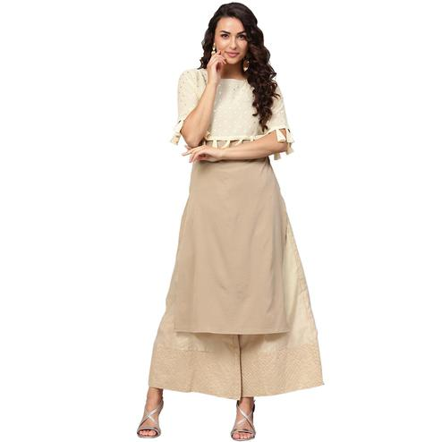Ahalyaa - Beige Colored Casual Foil Printed Crepe-Georgette Kurti