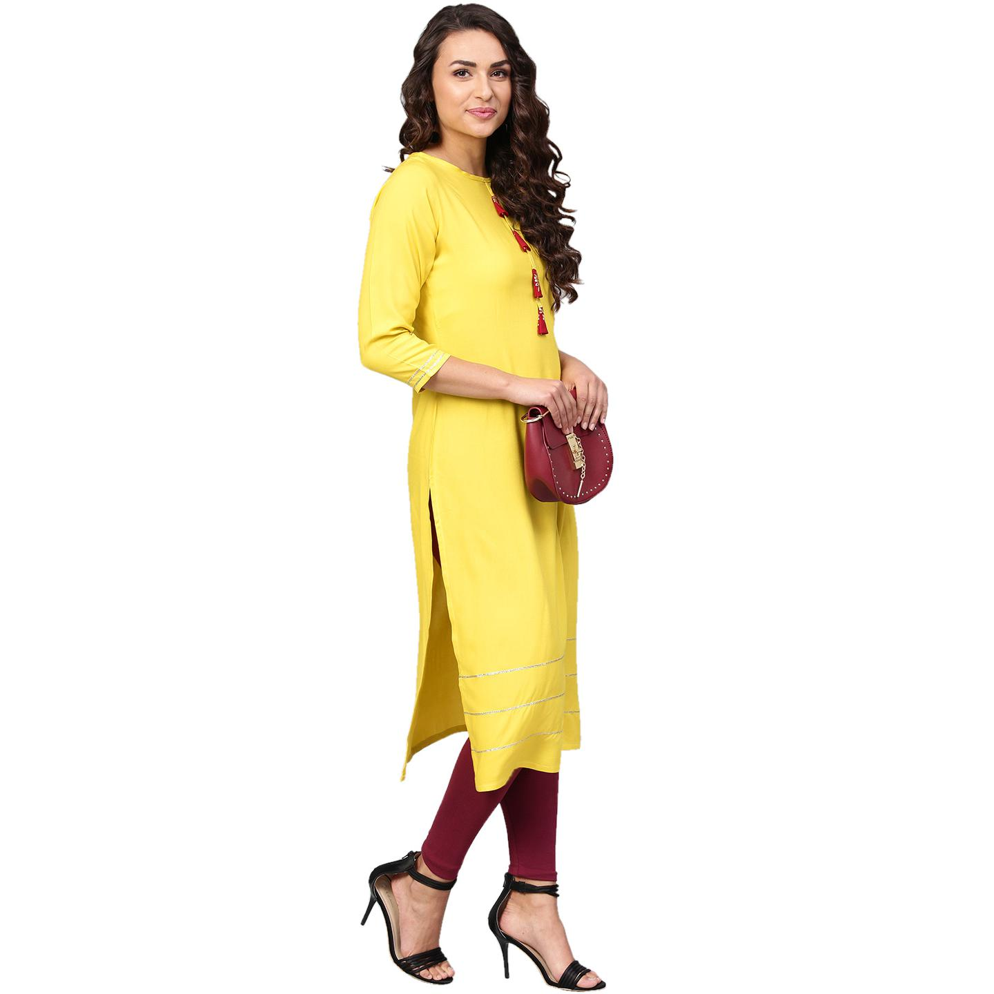 Ahalyaa - Yellow Colored Casual Solid Rayon-Georgette Kurti