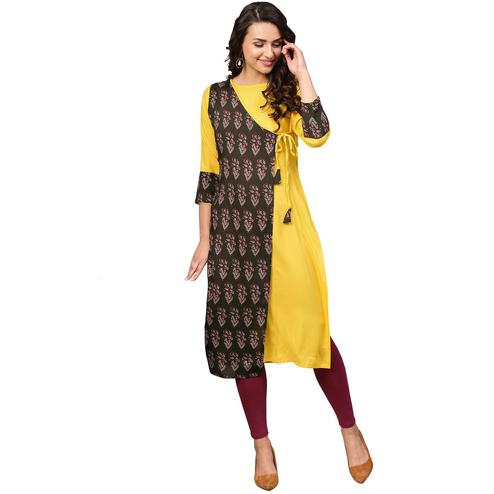 Ahalyaa - Yellow Colored Casual Printed Rayon Kurti