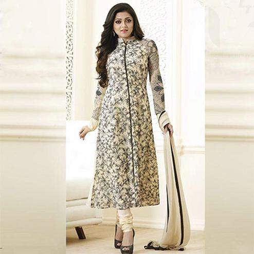 Black & Cream Color Designer Straight Suit