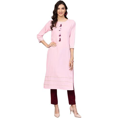 Ahalyaa - Pink Colored Casual Solid Crepe Kurti