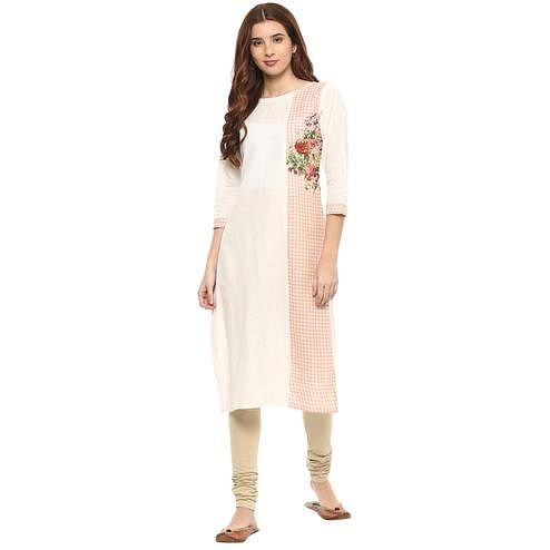 Ahalyaa - Off White Colored Casual Digital Printed Cotton Kurti