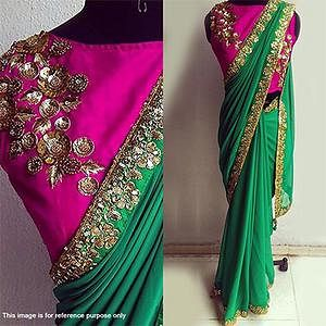 Stunning Green Georgette party Wear Saree