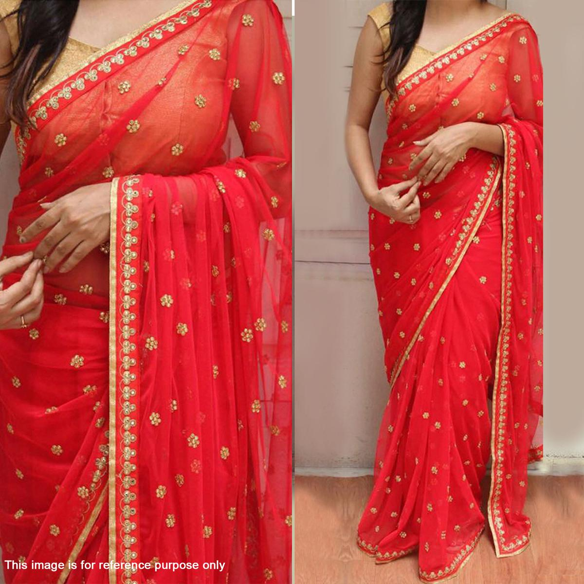 Beautiful Red Georgette Floral Embroidered Work Saree