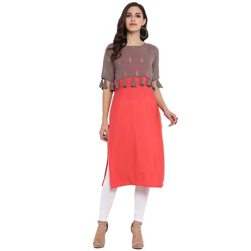 Ahalyaa - Red Colored Casual Foil Printed Crepe Kurti
