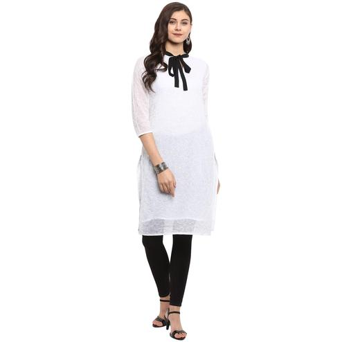 Ahalyaa - White Colored Casual Self Embroidered Organza Kurti