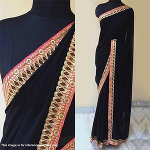 Black Party Wear Georgette Saree
