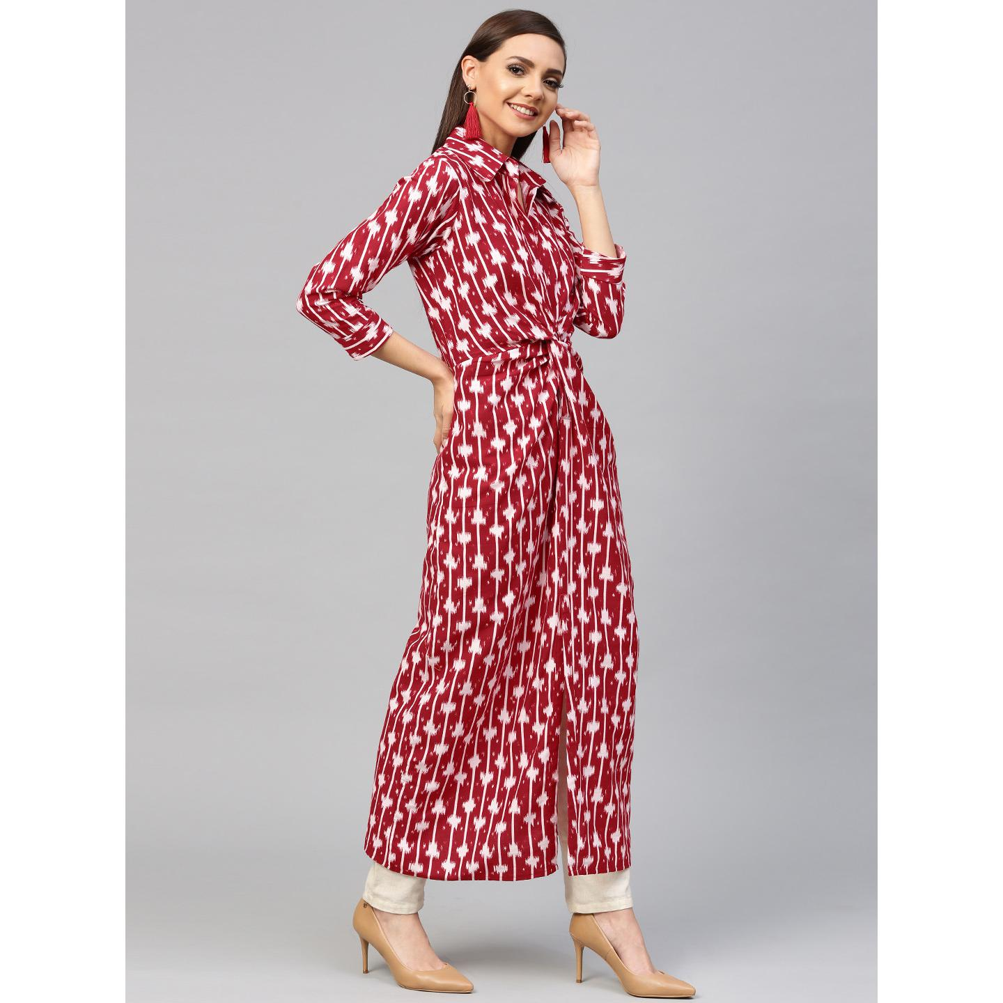 Ahalyaa - Red Colored Casual Printed Cotton Kurti
