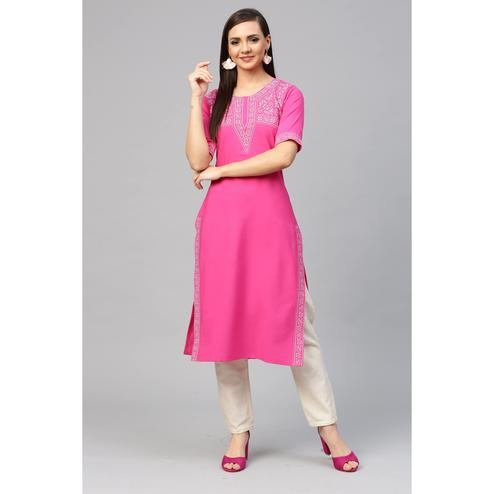 Ahalyaa - Pink Colored Casual Pigment Crepe Kurti