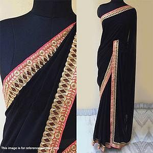 Black - Red Georgette Party Wear Saree