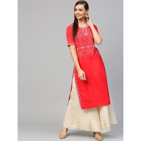 Ahalyaa - Red Colored Casual Pigment Crepe Kurti