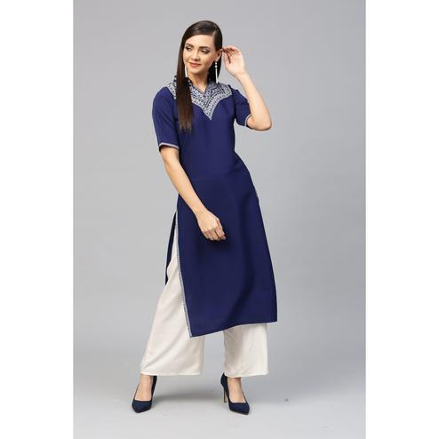Ahalyaa - Blue Colored Casual Pigment Crepe Kurti