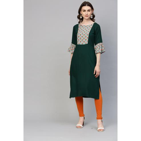 Ahalyaa - Green Colored Casual Printed Rayon Kurti