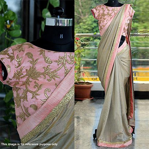 Graceful Grey Chanderi Silk Saree With Embroidered Work Blouse