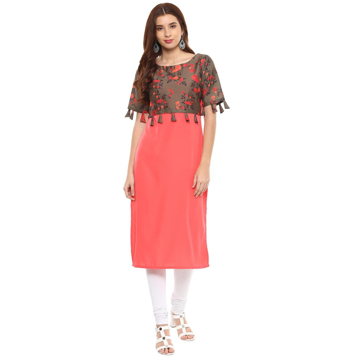 Ahalyaa - Pink Colored Casual Digital Printed Crepe-Polyester Kurti