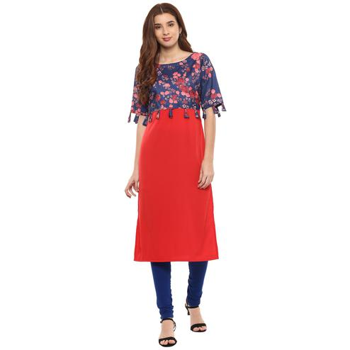 Ahalyaa - Red Colored Casual Digital Printed Crepe-Polyester Kurti