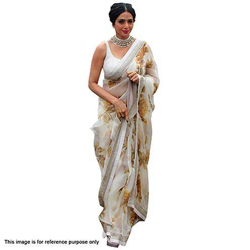 White Georgette Party Wear Saree