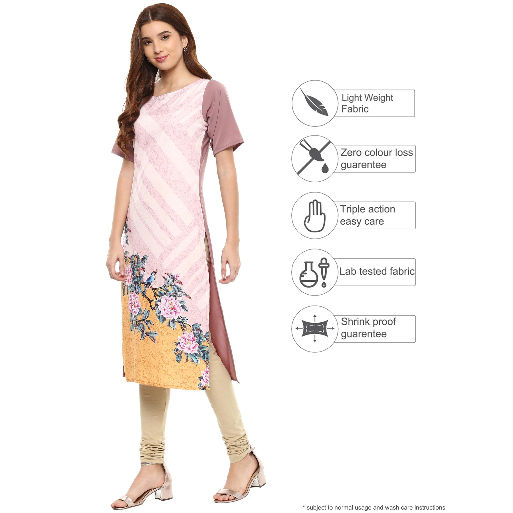 Ahalyaa - Mauve Colored Casual Digital Printed Crepe-Polyester Kurti