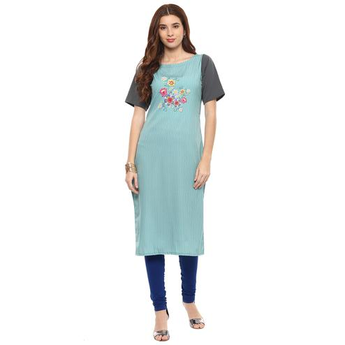 Ahalyaa - Blue Colored Casual Digital Printed Crepe-Polyester Kurti