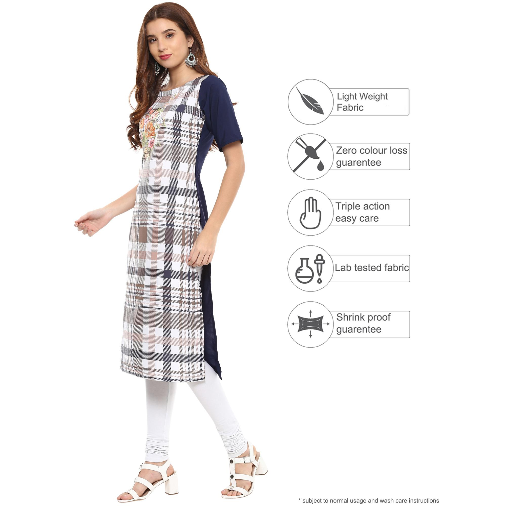 Ahalyaa - Multi Colored Casual Digital Printed Crepe-Polyester Kurti