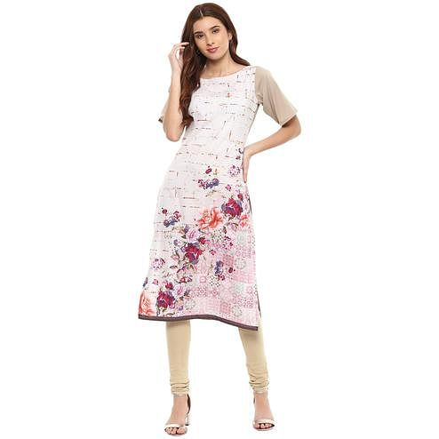 Ahalyaa - White Colored Casual Digital Printed Crepe-Polyester Kurti