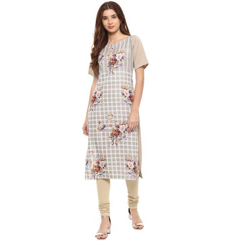 Ahalyaa - Beige Colored Casual Digital Printed Crepe-Polyester Kurti