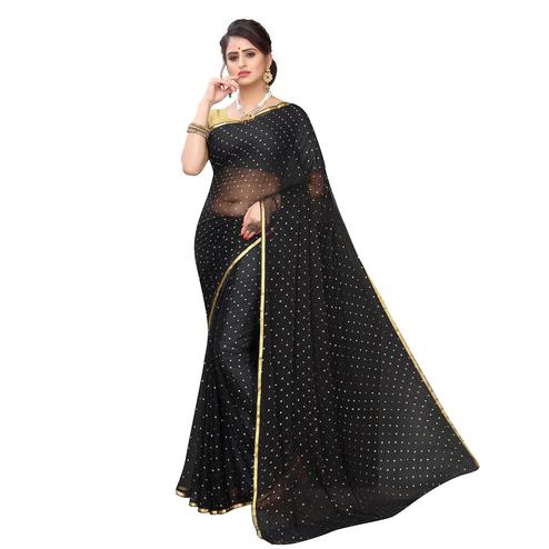 Intricate Black Colored Party Wear Chiffon Saree