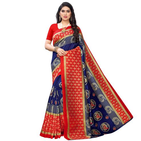 Pleasant Navy Blue Colored Festive Wear Printed Art Silk Saree