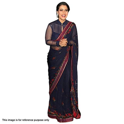 Gorgeous Navy Blue Party Wear Saree
