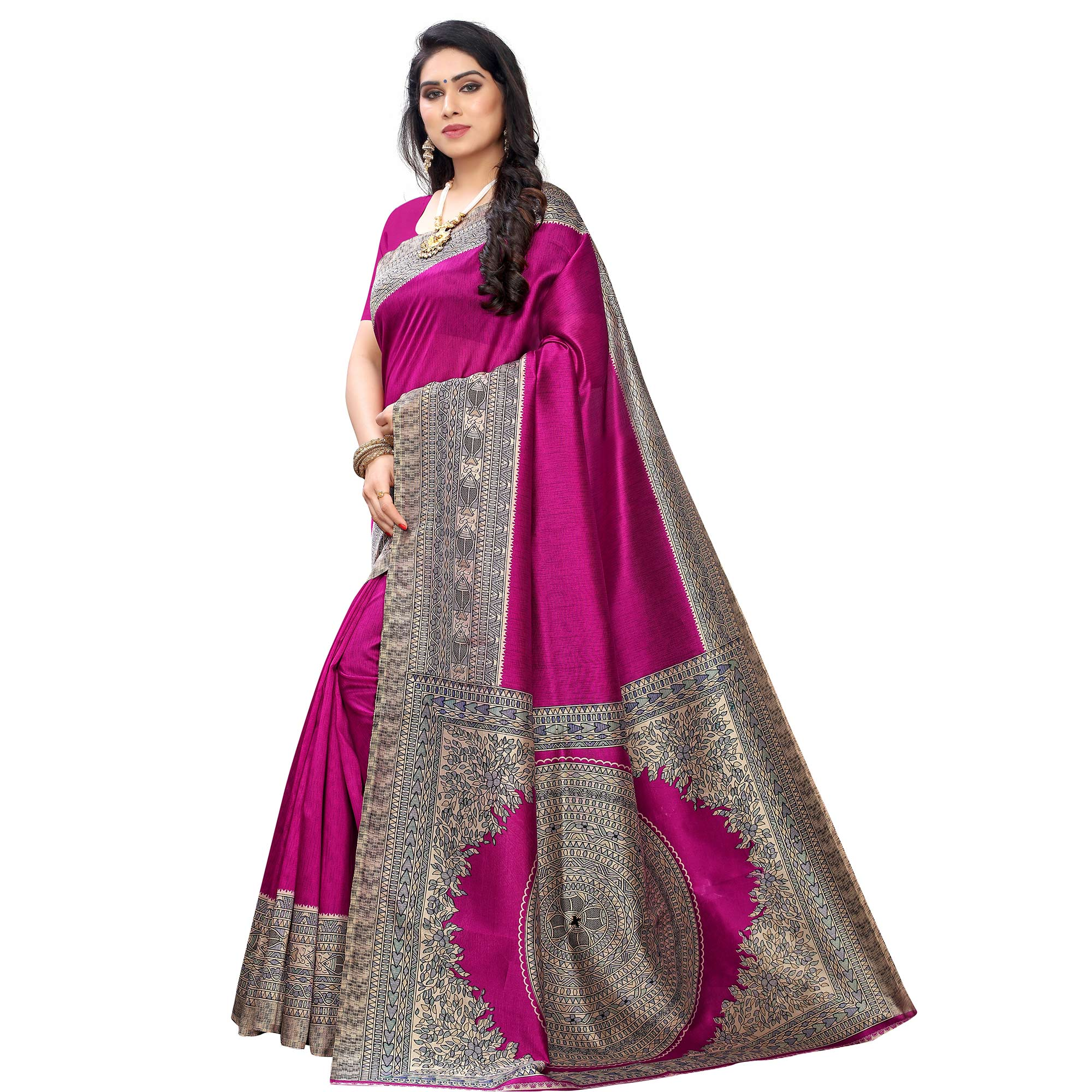 Opulent Pink Colored Festive Wear Printed Art Silk Saree