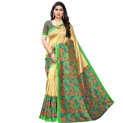 Energetic Gold-Green Colored Festive Wear Printed Art Silk Saree