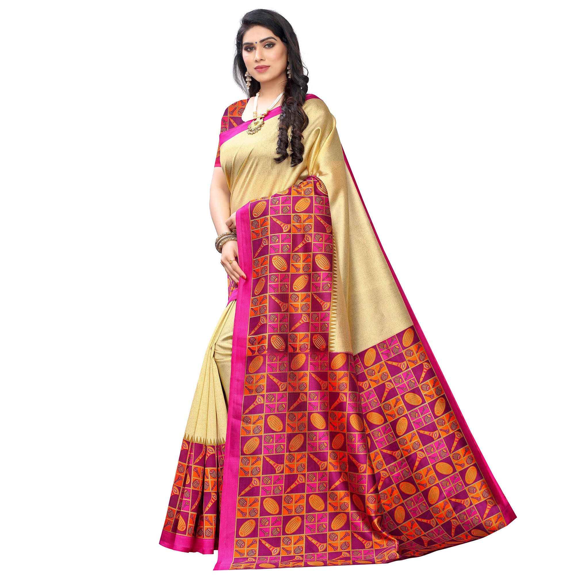 Glowing Gold-Pink Colored Festive Wear Printed Art Silk Saree