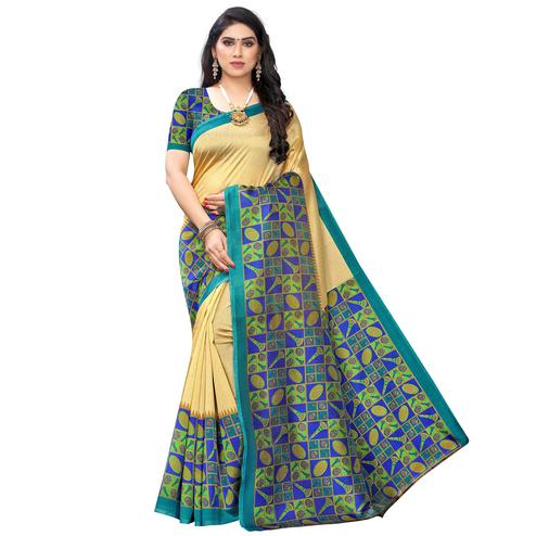 Exceptional Gold-Blue Colored Festive Wear Printed Art Silk Saree
