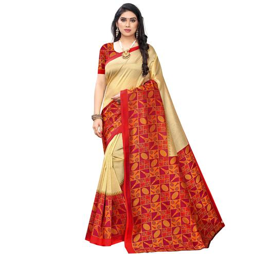 Gleaming Gold-Red Colored Festive Wear Printed Art Silk Saree