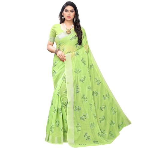 Mesmeric Parrot Green Colored Party Wear Printed Chanderi Silk Saree