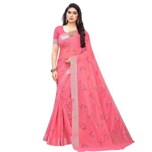Demanding Pink Colored Party Wear Printed Chanderi Silk Saree