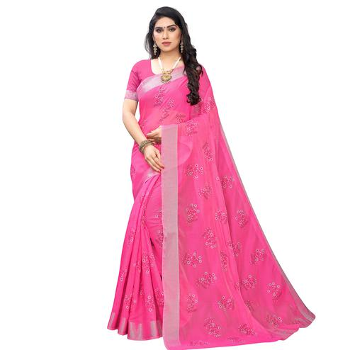 Refreshing Rani Pink Colored Party Wear Printed Chanderi Silk Saree