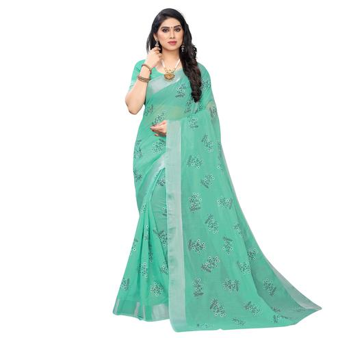Magnetic Green Colored Party Wear Printed Chanderi Silk Saree