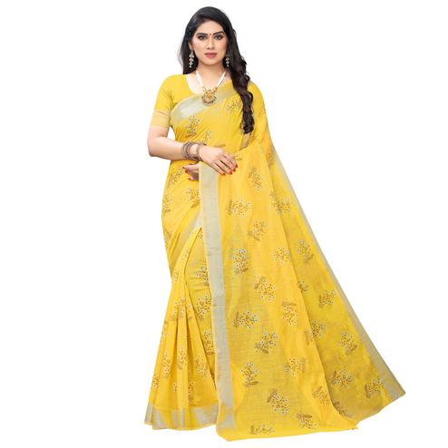 Hypnotic Yellow Colored Party Wear Printed Chanderi Silk Saree